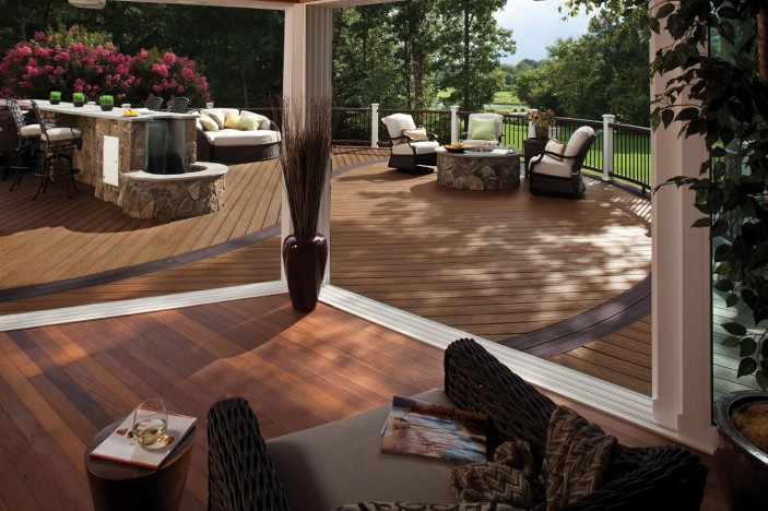 Trex decking is made from 95% recycled material.