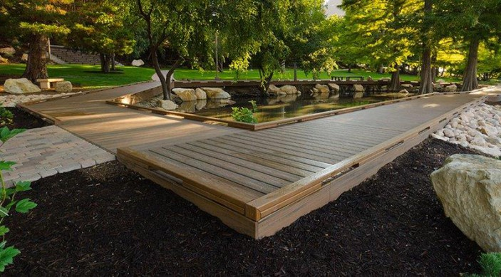 Trex decking, made from 95% recycled material, was used to create this college campus walking path